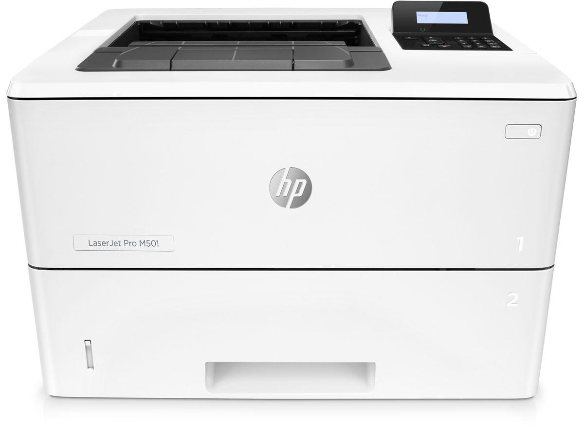 HP LaserJet Pro M501dn принтер лазерный (J8H61A)J8H61AЭнергосберегающий принтер HP LaserJet Pro M501dn обеспечивает быстрый запуск печати и поддержку функции безопасности для защиты от угроз. Печать больших объемов, малые габариты Забудьте о долгом ожидании. На выход из энергосберегающего режима сна и печать первой страницы принтеру требуется всего 7,2 секунды. Благодаря инновационной конструкции и технологии использования тонера этот принтер является лидером по экономии электроэнергии в своем классе. Печатайте документы неизменно высокого качества на различных носителях со скоростью до 65 страниц формата A5 в минуту. Этот компактный принтер работает в тихом режиме и не займет много места. Оцените надежную защиту и удобство управления парком устройств Будьте уверены в надежной работе устройства с момента его запуска и до окончания работы. Благодаря встроенным функциям защиты можно не беспокоиться даже о серьезных угрозах. А дополнительный разъем с функцией защиты по PIN-коду будет...