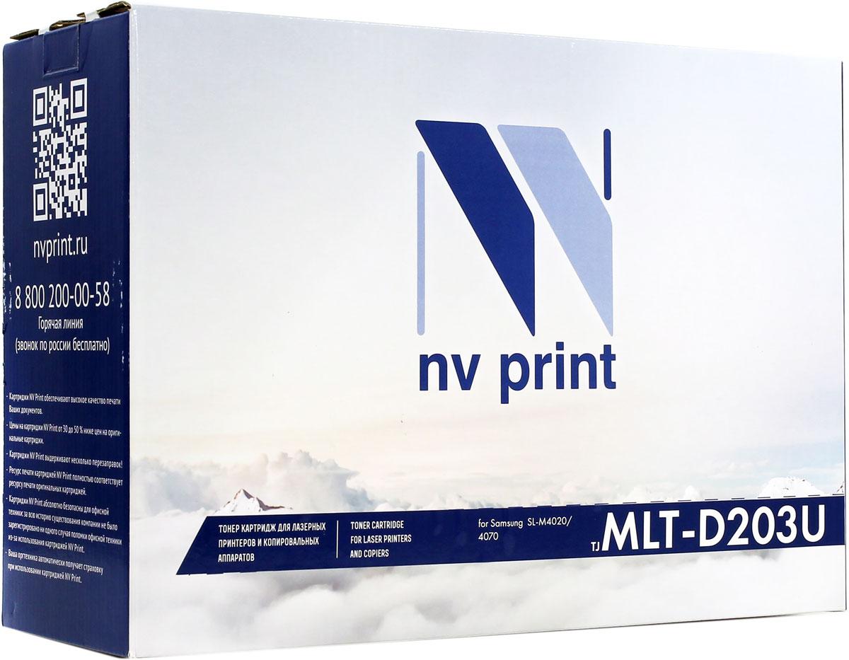 NV Print MLTD203U, Black тонер-картридж для Samsung ProXpress M4020ND/M4070FRNV-MLTD203UСовместимый лазерный картридж NV Print MLTD203U для печатающих устройств Samsung - это альтернатива приобретению оригинальных расходных материалов. При этом качество печати остается высоким. Картридж обеспечивает повышенную чёткость чёрного текста и плавность переходов оттенков серого цвета и полутонов, позволяет отображать мельчайшие детали изображения.Лазерные принтеры, копировальные аппараты и МФУ являются более выгодными в печати, чем струйные устройства, так как лазерных картриджей хватает на значительно большее количество отпечатков, чем обычных. Для печати в данном случае используются не чернила, а тонер.