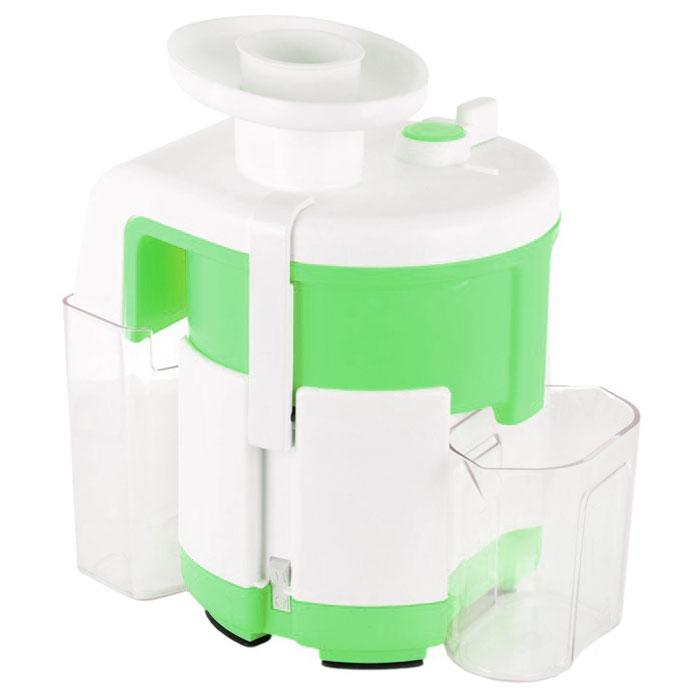 Журавинка СВСП 303, Green White соковыжималкаСК СВСП 303Соковыжималка Журавинка СВСП 303 может легко и быстро переработать значительное количество овощей и фруктов с минимальными усилиями. Модель отжимает сок буквально до последней капли, так как жмых, полученный на выходе практически сухой. Это достигается благодаря применению ручного способа выброса жмыха в представленной модели. Конструкция рассматриваемого аппарата предусматривает непрерывную работу в течении около одного часа. При этом производитель гарантирует высокую надежность модели и отменную отказоустойчивость. Производительность соковыжималки составляет около 700 грамм в минуту. При работе устройство практически не греется ввиду незначительного потребления электроэнергии от источника электропитания. Чистота сока: 92%