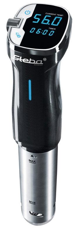 Steba SV 50 су-видSV 50Аппарат для готовки по технологии су-вид Steba SV 50 с корпусом из нержавеющей стали оборудован профессиональной системой циркуляции воды, служащей для очень точного регулирования температуры. Точность измерения температуры регулируется с шагом 0,5°C до 90°C. Аппарат имеет простое управление с сенсорным дисплеем, функцию быстрого нагрева воды. Поверхности Steba SV 50 легко чистятся.