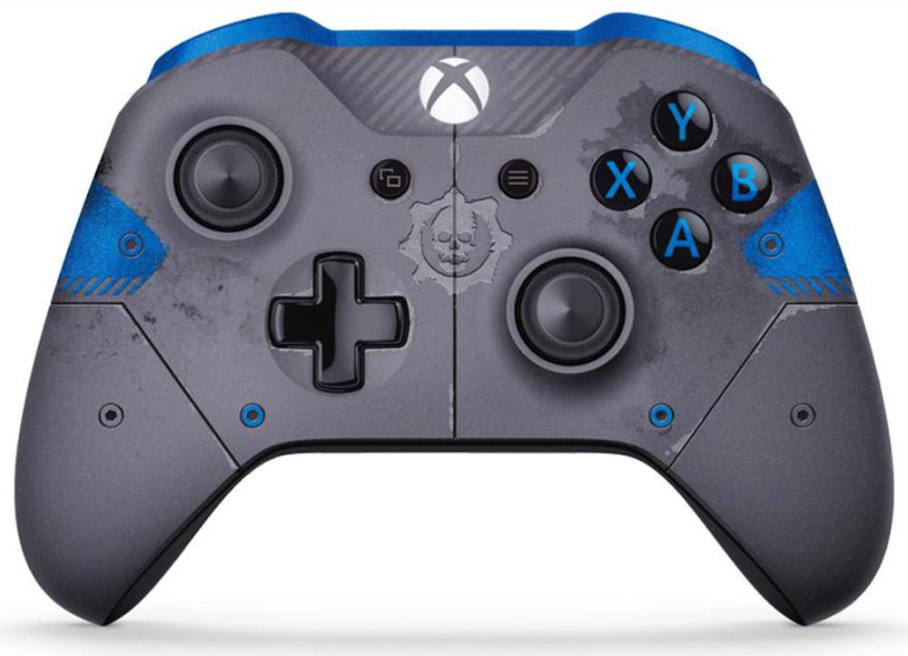 Xbox One Gears of War 4 JD Fenix беспроводной геймпад синий (Blue)WL3-00008Ощутите невероятное удобство управления с беспроводным геймпадом Xbox OneGears of War 4 JD Fenix. Импульсные триггеры обеспечивают вибрационную обратную связь, так что вы почувствуете малейшую тряску и столкновения с высочайшей точностью. Отзывчивые мини-джойстики и усовершенствованная крестовина повышают точность. А к 3,5 - мм стереогнезду можно напрямую подключить любую совместимую гарнитуру. Почувствуйте игру благодаря импульсным триггерам. Вибрационные электродвигатели в триггерах обеспечивают прецизионную обратную связь, передавая отдачу оружия, столкновения и тряску для достижения невиданного реализма в играх! Теперь геймпад оснащен 3,5-мм стереогнездом, к которому можно напрямую подключить любимую игровую гарнитуру. Поддерживается беспроводное обновление прошивки, благодаря чему для обновления не требуется подключать геймпад с помощью кабеля USB. Точность Крестовина отлично реагирует как на касания, так и на нажатия...