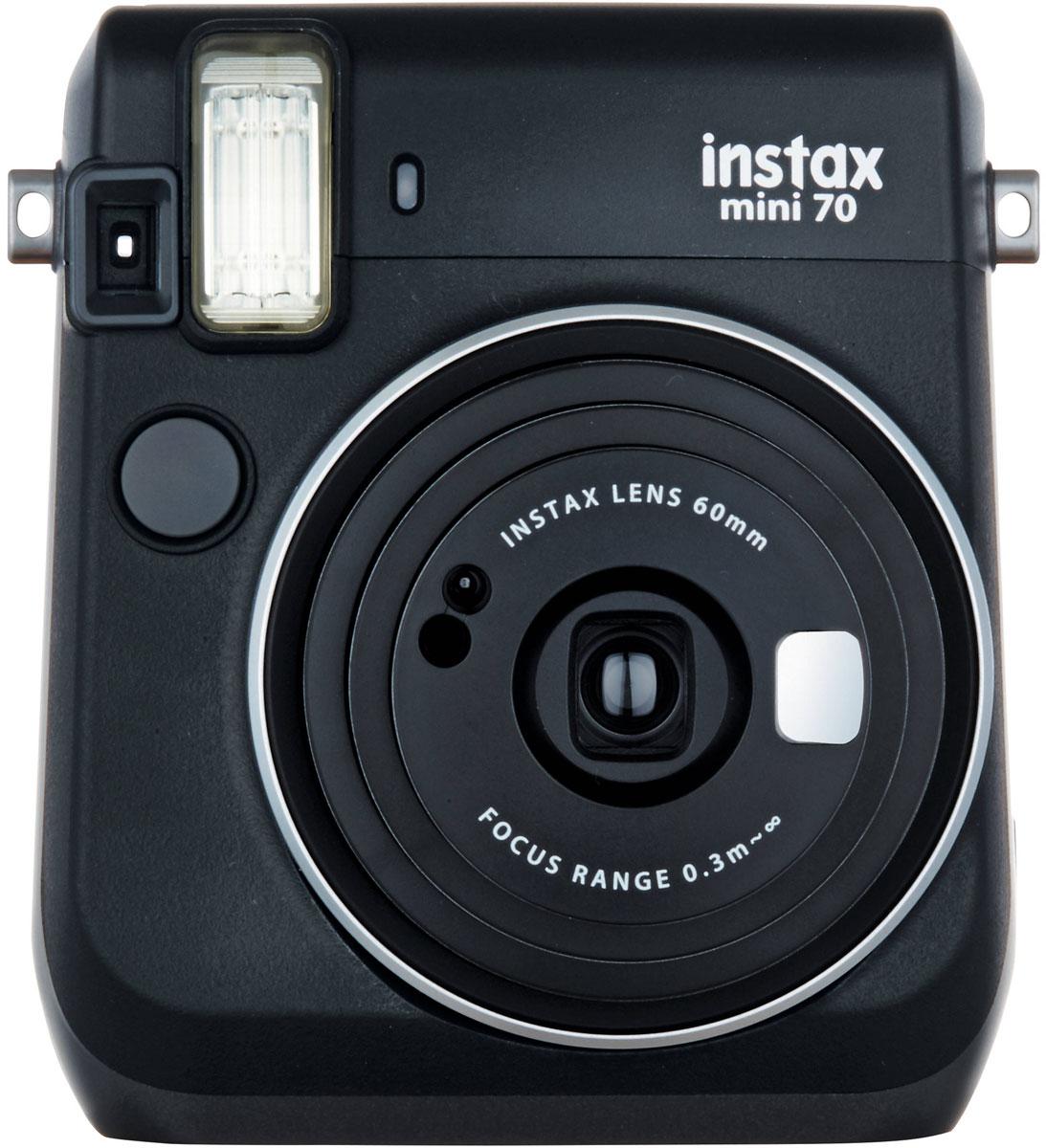 Fujifilm Instax Mini 70, Black фотокамера мгновенной печати16513877С камерой Fujifilm Instax Mini 70 вы превратите серые будни в особенные дни, наполненные улыбками. Чтобы проводить время весело, всегда и везде берите с собой этот стильный фотоаппарат.Главной особенностью камеры является функция автоматического контроля экспозиции, которая позволяет запечатлеть, как объект съемки, так и фон в их естественной освещенности. Помимо этого Instax Mini 70 может похвастаться отдельным режимом съемки для создания cелфи.Использование режима selfie обеспечивает оптимальную яркость и расстояние для съемки автопортретов. Вы также можете проверить кадрирование в специальном зеркальце рядом с объективом.Высокопроизводительная вспышка автоматически определяет яркость окружающего освещения и устанавливает оптимальную выдержку - специальные настройки не требуются!С помощью функции Hi-Key можно запечатлеть яркие, красивые тона кожи. Также имеются режимы для съемки макро и пейзажей. Для максимального удобства также предусмотрена заполняющая вспышка и стандартное штативное гнездо.Используемая фотопленка: Fujifilm Instax MiniРазмер фотографии: 62 х 46 ммУправление экспозицией: автоматическоеКоррекция экспозиции: ±2/3 EVПитание: CR2/DL CR2 х 2Ресурс батарей: 30 упаковок фотобумаги (по результатам исследований Fujifilm)