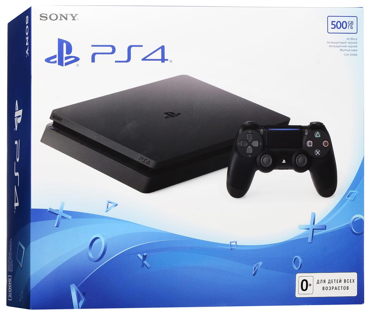 Игровая приставка Sony PlayStation 4 Slim (500 GB), Black (CUH-2008A)1CSC20002461Внутренняя архитектура для новой версии PS4 была полностью пересмотрена, в результате чего объем консоли уменьшился более чем на 30%, а вес - на 25% и 16%. Также новая версия PS4 более энергоэффективна, так как потребление энергии было снижено на 34% и 28% в сравнении с предыдущими моделями консоли.Новая версия PS4 унаследовала скошенный дизайн предыдущих версий. Фронтальная и тыльная части корпуса расположены под углом. Вершины корпуса срезаны и закруглены, создавая более легкий дизайн, импонирующий большинству аудитории. Новый простой дизайн с глянцевым логотипом PS в центре верхней грани консоли будет прекрасно смотреться вне зависимости от того, как вы разместите корпус.Заглядывая в будущее технологий визуализации, все консоли PS4, включая данную модель, будут поддерживать HDR (High Dynamic Range), что позволит воспроизводить светлые и темные сцены с помощью гораздо большего количества цветов. Владельцы телевизоров, поддерживающих HDR, смогут насладиться играми и другим развлекательным контентом с более реалистичным и живым изображением. В преддверии трехлетнего юбилея портфолио игр для PS4 стало еще привлекательнее и при этом продолжает пополняться наиболее ожидаемыми играми от сторонних разработчиков и издателей.Процессор: x86-64 AMD Jaguar, 8 ядерВидеочип: 1.84 TFLOPS, графическое ядро AMD RadeonПамять: GDDR5, 8 ГБПривод BD/ DVDРазъемы: USB 3.1x2, aux, RJ-45, HDMIСетевые возможности: Ethernet (10BASE-T, 100BASE-TX, 1000BASE-T), IEEE 802.11 a/b/g/n/ac, Bluetooth v4.0Энергопотребление: 165 Вт