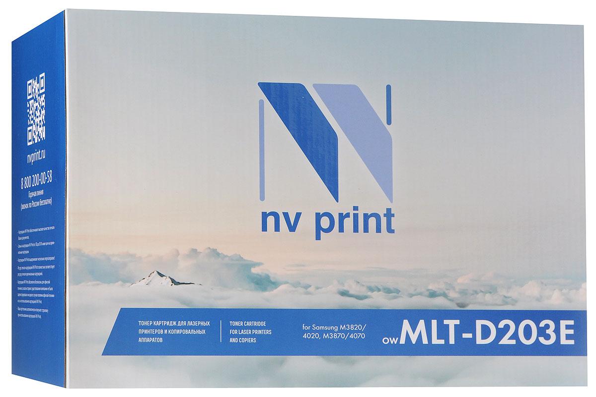 NV Print MLTD203E, Black тонер-картридж для Samsung SL-M3820/3870/4020/4070NV-MLTD203EСовместимый лазерный картридж NV Print MLTD203E для печатающих устройств Samsung - это альтернатива приобретению оригинальных расходных материалов. При этом качество печати остается высоким. Картридж обеспечивает повышенную чёткость чёрного текста и плавность переходов оттенков серого цвета и полутонов, позволяет отображать мельчайшие детали изображения.Лазерные принтеры, копировальные аппараты и МФУ являются более выгодными в печати, чем струйные устройства, так как лазерных картриджей хватает на значительно большее количество отпечатков, чем обычных. Для печати в данном случае используются не чернила, а тонер.