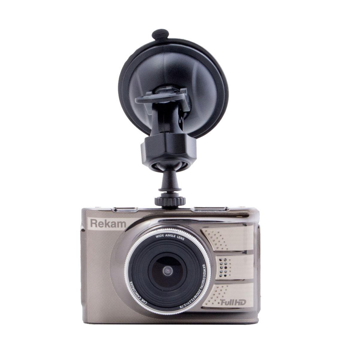 Rekam F200 видеорегистратор2603000005Качественное и мощное оснащение видеорегистратора Rekam F200 позволяет получать Full HD видео с разрешением 1920х1080, охватывая все необходимые детали и подробности в любых условиях освещённости. Во время движения, в случае удара, резкого торможения или ускорения встроенный датчик удара (G-сенсор) автоматически переведёт регистратор в аварийный режим работы и запишет видеофайл в отдельную папку, защитив от уничтожения. На лицевой стороне видеорегистратора Rekam F200 расположен 6 линзовый объектив. Он имеет угол обзора 120° и диафрагму 2.2, что обеспечивает достойное качество съемки высокого качества, как в Full HD, так и в HD разрешении при различных условиях освещения. Помимо объектива, на лицевой стороне расположен встроенный динамик. Кроме режима записи видео со звуком, Rekam F200 поддерживает режим съемки фотографий. Для расширения функциональных возможностей видеорегистратор оснастили функцией стабилизации изображения, 3-х осевым G-сенсором, на...
