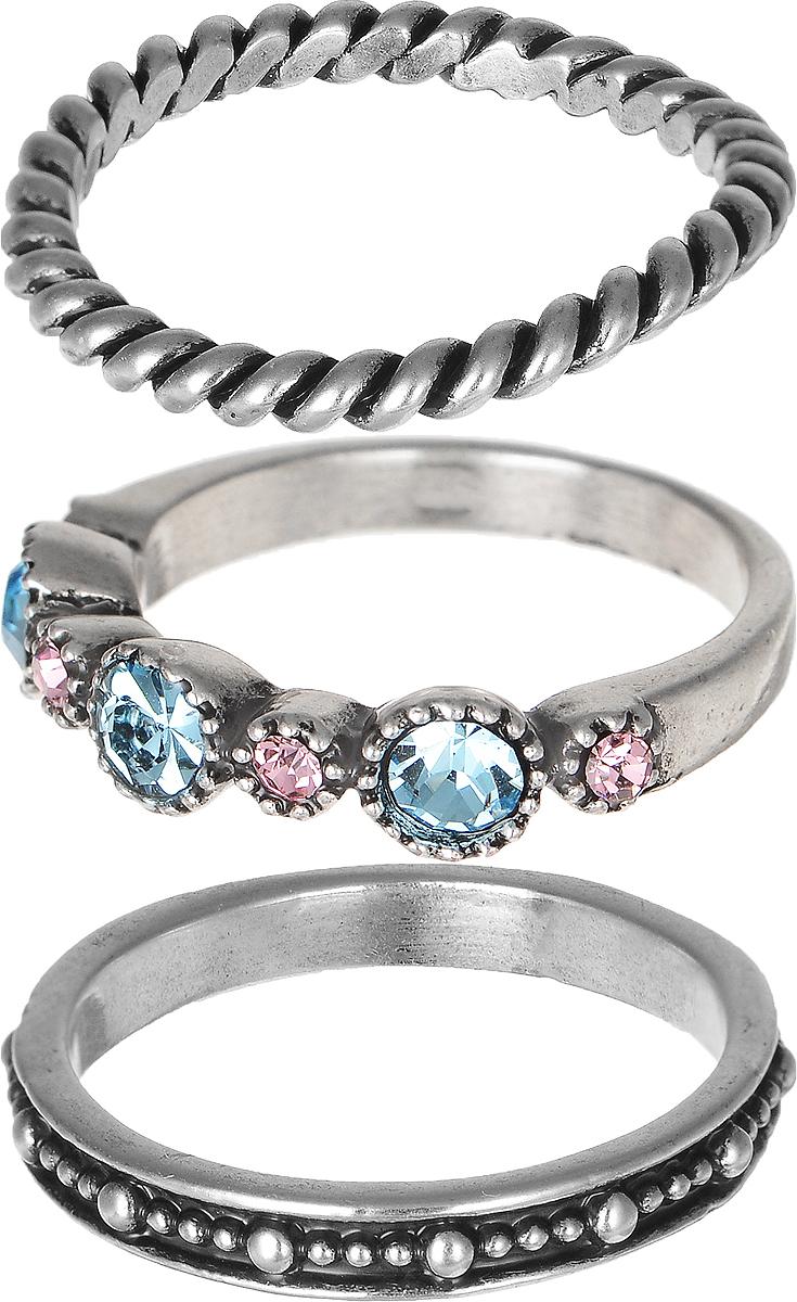 Кольцо Polina Selezneva, цвет: серебряный, голубой, розовый. DG-0027DG-0027Стильное кольцо Polina Selezneva изготовлено из качественного металлического сплава. Кольцо состоит из трех элементов и оформлено искусственными камнями, стразами и вырезными узорами.