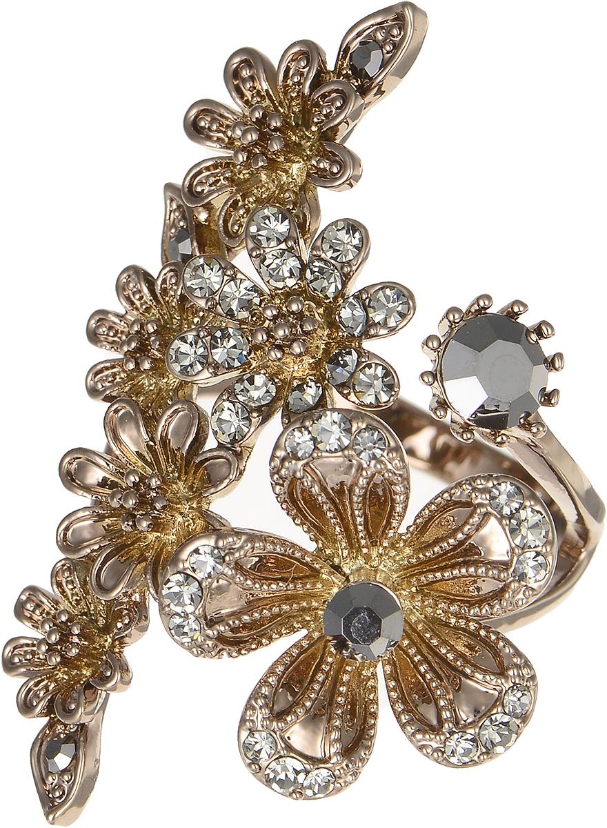 Кольцо Polina Selezneva, цвет: коричневый. DG-0085. Размер 19DG-0085-19Оригинальное кольцо Polina Selezneva выполнено из бижутерийного сплава и оформлено веточкой цветов. Дополнено изделие стразами и цирконами. Такое кольцо это блестящее завершение вашего неповторимого, смелого образа и отличный подарок для ценительницы необычных украшений!