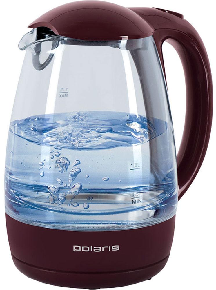 Polaris PWK 1768CGL, Vinous электрочайникPWK 1768CGLКорпус чайника Polaris PWK 1768CGL выполнен из высококачественного термостойкого стекла, сохраняющего природные свойства воды. Благодаря максимальной мощности 2200 Вт, данная модель за считанные минуты вскипятит 1,7 литра воды. Прозрачный корпус с двусторонней шкалой контроля уровня и внутренней подсветкой позволяет следить за тем, как нагревается вода. Чайник соединён с базой центральным контактом и легко вращается на 360°. Крышка чайника открывается легким нажатием. Съемный фильтр легко снимается, его можно мыть вручную или в посудомоечной машине. Нагревательный элемент встроен в плоское дно и надежно защищен стальной пластиной, что делает его чистку максимально удобной. Среди характеристик безопасности использования чайника стоит отметить автоматический и ручной выключатели, а также защиту от перегрева.