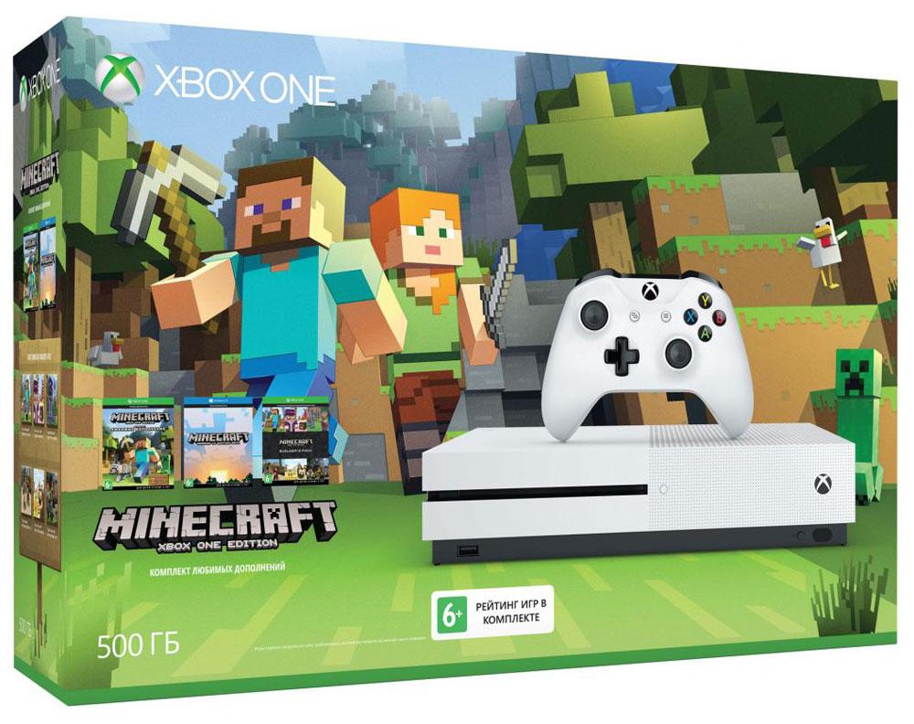 Игровая приставка Xbox One S 500 ГБ + MinecraftZQ9-00048Игровая приставка Xbox One S - единственная консоль с 4K-плеером Blu-Ray, потоковым видео с разрешением 4K и функцией расширенного динамического диапазона (HDR). Играйте в лучшую линейку игр, включая классические игры с Xbox 360, на консоли, которая компактнее на 40%. Не обманывайтесь ее размером, благодаря встроенному блоку питания и жесткому диску емкостью до 1 ТБ консоль Xbox One S — самая продвинутая из всех Xbox на сегодняшний день! Наслаждайтесь более насыщенными и яркими цветами в таких играх, как Gears of War 4 и Forza Horizon 3. Технология расширенного динамического диапазона повышает контраст между светлыми и темными участками изображения, представляя игры во всем их великолепии! Разрешение 4K Ultra HD в четыре раза превышает стандартное разрешение HD, обеспечивая максимально четкое и реалистичное отображение. Смотрите потоковое видео в формате 4k из Netflix и Amazon Video, а также фильмы на дисках Ultra HD Blu-ray, с...
