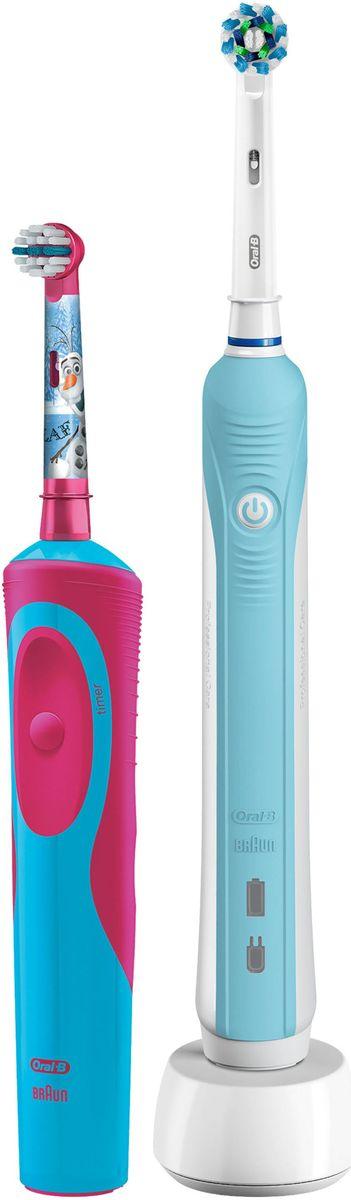 Oral-B Family Pack Pro 500 + Stages Power Frozen набор электрических зубных щеток81603345Набор электрических зубных щеток Family Pack (Oral-B Pro 500 и Oral-B Stages Power Frozen). Аккумуляторная зубная щетка Oral-B Pro 500 - одна из самых популярных в модельном ряду щеток Oral-B. Модель имеет отличное соотношение цены и качества, благодаря чему завоевала любовь покупателей. В комплект со щёткой входит новая насадка CrossAction. Благодаря эксклюзивной форме насадки, у которой щетинки расположены под углом 16 градусов друг к другу, происходит эффективная очистка налета с поверхности зубов и линии десны. Перекрестные щетинки разрыхляют, поднимают налет и выметают его из труднодоступных мест, а возвратно-вращательные движения и круглая форма насадки позволяют проникать даже в узкие межзубные промежутки, удаляя оттуда налет и остатки пищи. Oral-B Pro 500 проста в использовании - работает только в одном режиме чистки. В щетку встроен двухминутный таймер, позволяющий соблюдать рекомендуемое стоматологами для чистки время. ...