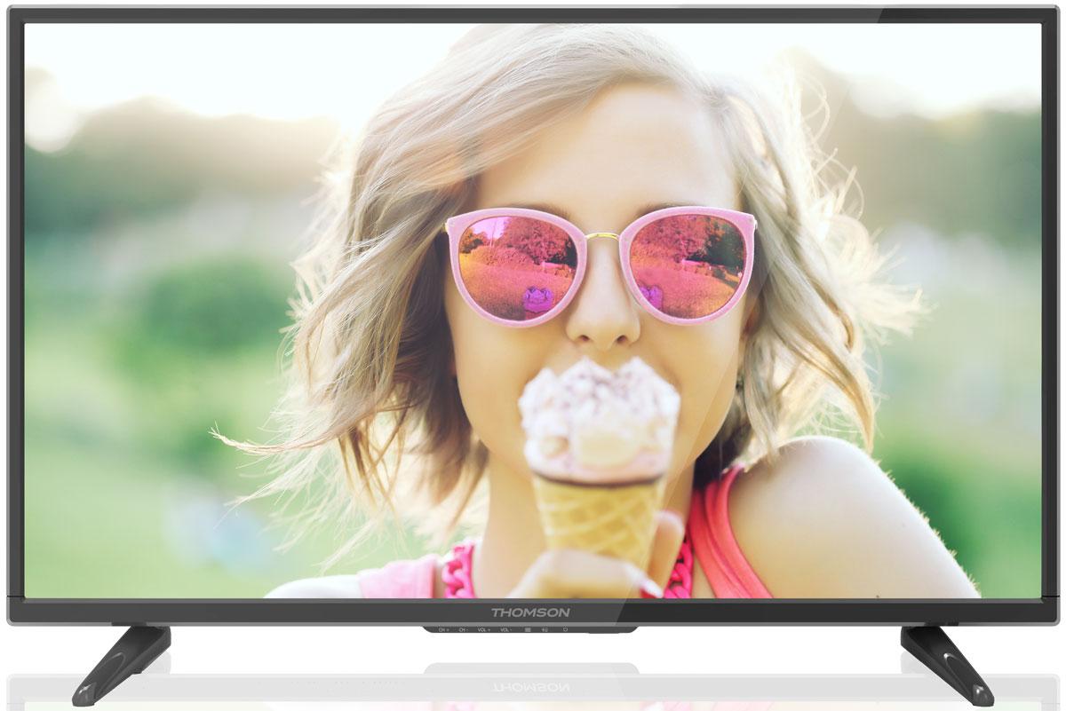 Thomson T48D16SF-01B телевизорT48D16SF-01BThomson T48D16SF-01B - идеальный выбор для тех, кто ищет стильный ЖК-телевизор с большим качественным экраном, обладающий востребованными функциями.Экран выполнен с применением технологии D-LED, что улучшает качество картинки и повышает энергоэффективность. Телевизор способен принимать сигнал цифрового телевидения DVB-T2 без дополнительного тюнера. Еще одно существенное преимущество модели - возможность воспроизведения файлов с USB-накопителей, благодаря которым можно просматривать видео с внешних носителей без использования видео-плеера. Имеются три HDMI-входа, благодаря которым к телевизору могут подключаться современные устройства, поддерживающие разрешение высокой четкости.Thomson T48D16SF-01B обладаетрядом функций, позволяющих добиться наилучшего качества картинки и звука. В их числе динамический контраст и шумоподавление. Кроме того, телевизор оснащен удобной функцией TimeShift, благодаря которой при условии подключения к ТВ USB-накопителя, телевизионные трансляции можно ставить на паузу.В комплекте с телевизором поставляется устойчивая настольная подставка, а на задней панели предусмотрено стандартное крепление VESA 400 x 400 мм.Яркость: 240 кд/м2Соотношение сторон экрана: 16:9Время отклика: 6,5 мсУгол обзора по горизонтали / вертикали: 178/178 градусов