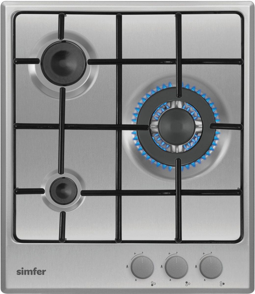 Simfer H45V35M411 панель варочная газоваяH45V35M411Газовая варочная панель Simfer H45V35M411 с чистым пламенем доведет вашу сковороду до нужной температуры без всяких задержек. Включите её и всё днище сковороды будет моментально нагрето. Благодаря идеальному расположению панели управления и индикатора уровня мощности прямо спереди этой варочной панели, любой повар, будь он левша или правша, сможет пользоваться ими с одинаковой лёгкостью. Газовая варочная поверхность Simfer H45V35M411 упрощает приготовление и делает его безопаснее благодаря особой форме подставок, обеспечивающих абсолютную устойчивость посуды. Нет способа быстрее и удобнее для того, чтобы разжечь конфорку, чем автоподжиг варочной панели. Просто поверните ручку, чтобы открыть и зажечь газ одним плавным движением.