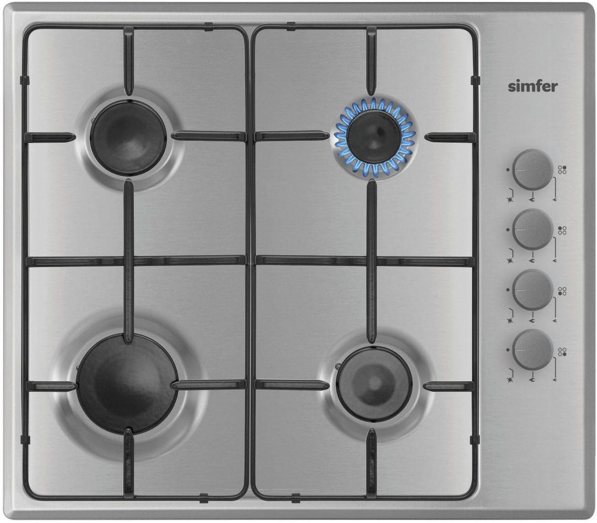 Simfer H60Q40M411 панель варочная газоваяH60Q40M411Газовая варочная панель Simfer H60Q40M411 с чистым пламенем доведет вашу сковороду до нужной температуры без всяких задержек. Включите её и всё днище сковороды будет моментально нагрето.Simfer H60Q40M411 упрощает приготовление и делает его безопаснее благодаря особой форме подставок, обеспечивающих абсолютную устойчивость посуды.Нет способа быстрее и удобнее для того, чтобы разжечь конфорку, чем автоподжиг варочной панели. Просто поверните ручку, чтобы открыть и зажечь газ одним плавным движением.