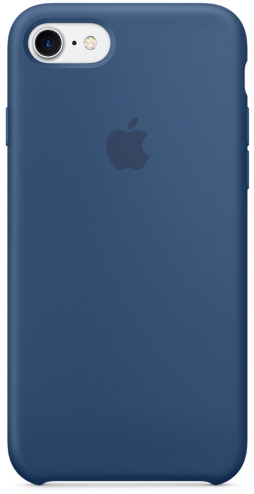 Apple Silicone Case чехол для iPhone 7, Ocean BlueMMWW2ZM/AApple Silicone Case плотно прилегает к кнопкам громкости и режима сна, точно повторяет контуры телефона, но при этом не делает его громоздким. Мягкая подкладка из микроволокна защищает корпус iPhone. А его внешняя силиконовая поверхность очень приятна на ощупь.