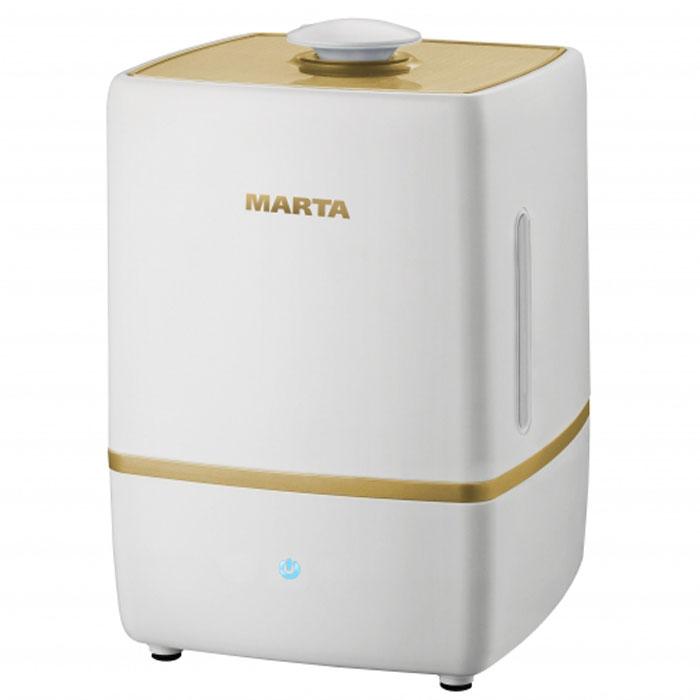 Marta MT-2659, Light Amber увлажнитель воздухаMT-2659Увлажнитель воздуха Marta MT-2659 бесшумно нормализует уровень влажности в помещении до идеального уровня. Вы почувствуете разницу очень скоро, ведь от уровня влажности зависит и степень вашей работоспособности, и качество отдыха. Три режима интенсивности увлажнения позволяет создавать необходимый именно вам микроклимат, как дома, так и в офисе. Marta MT-2659 оснащен вместительным пятилитровым резервуаром. При расходе воды всего 250 мл/ч, такой объем позволяет поддерживать комфортные условия в жилом помещении на протяжении суток. Удобное и простое управление осуществляется при помощи сенсорной панели со светодиодной индикацией.