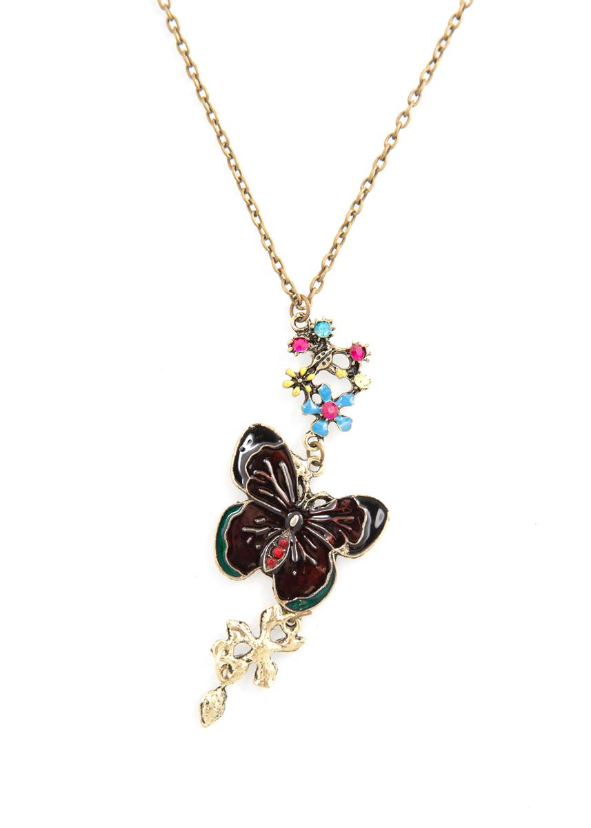 Кулон Mitya Veselkov Темная бабочка с цветами, цвет: коричневый. PDV-48PDV-48Стильный кулон Mitya Veselkov Темная бабочка с цветами выполнен из металлического сплава, дополнен цепочкой с застежкой на карабин.