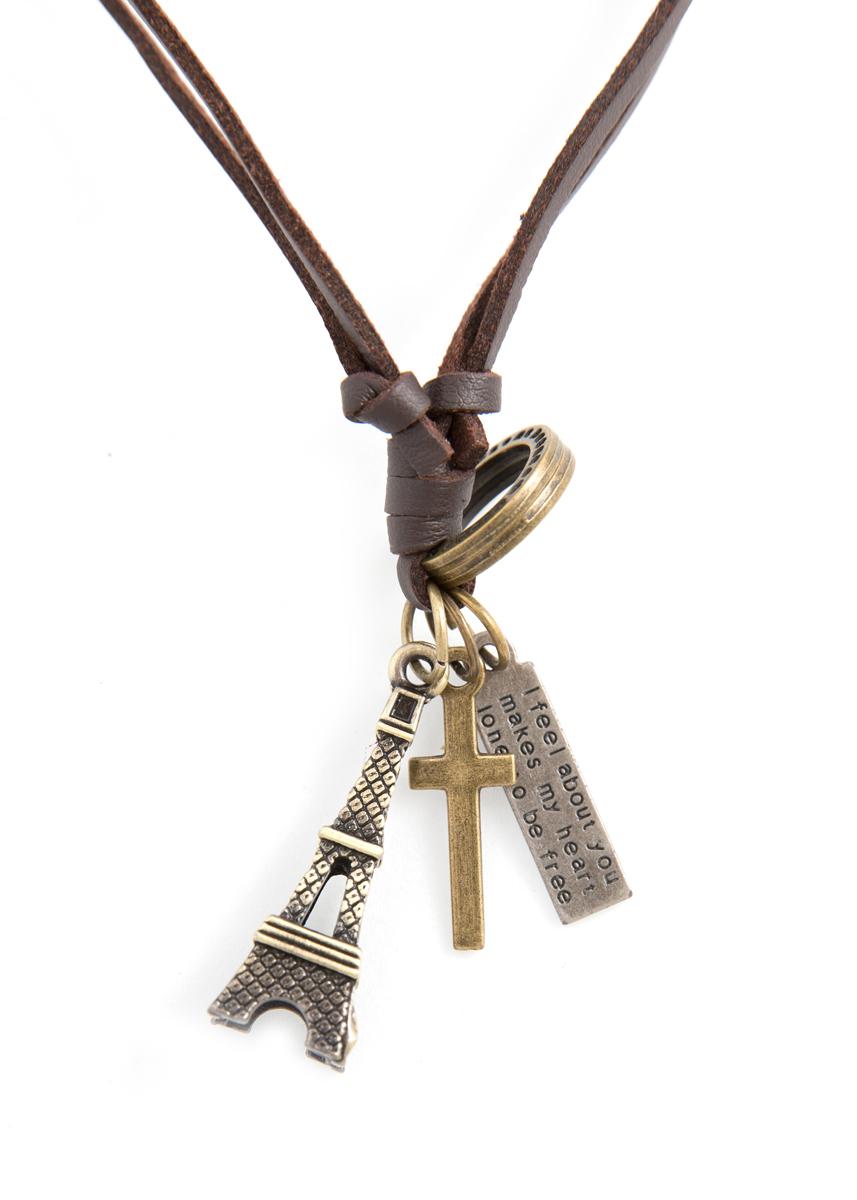 Кулон Mitya Veselkov Эйфелева и крест, цвет: бронзовый. PDV-67PDV-67Стильный кулон Mitya Veselkov Эйфелева и крест выполнен из металлического сплава в виде эйфелевой башни, креста и бирки, дополнен текстильным шнурком.