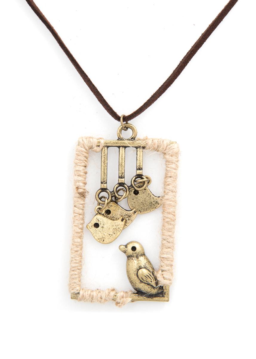 Кулон Mitya Veselkov Четыре птички, цвет: бронзовый. PDV-70Браслет с подвескамиСтильный кулон Mitya Veselkov Четыре птички выполнен из металлического сплава и дополнен текстильным шнурком.