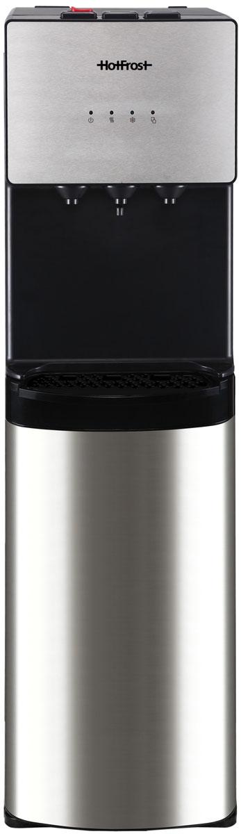 HotFrost 400AS кулер для воды4630004841475Кулер HotFrost 400AS будет достойным дополнением к интерьеру в стиле hi-tech. Простота линий и форм, сочетание черного цвета и нержавейки создадут ощущение организованности и порядка как в офисе, так и дома. Бутыль с водой не нарушит дизайн вашего интерьера, так как располагается в нижнем шкафчике кулера HotFrost 400AS. Устройство также имеет ряд полезных опций: Защиту от случайного нажатия крана горячей воды Включение и отключение функций нагрева и охлаждения Индикатор наполнения каплесборника Встроенные в боковые панели ручки для удобства перемещения Неоновая подсветка кранов подчеркнет особую атмосферу в комнате Тип нагревательного элемента: внутренний трубчатый Индикатор нагрева / охлаждения Съемный лоток для сбора капель