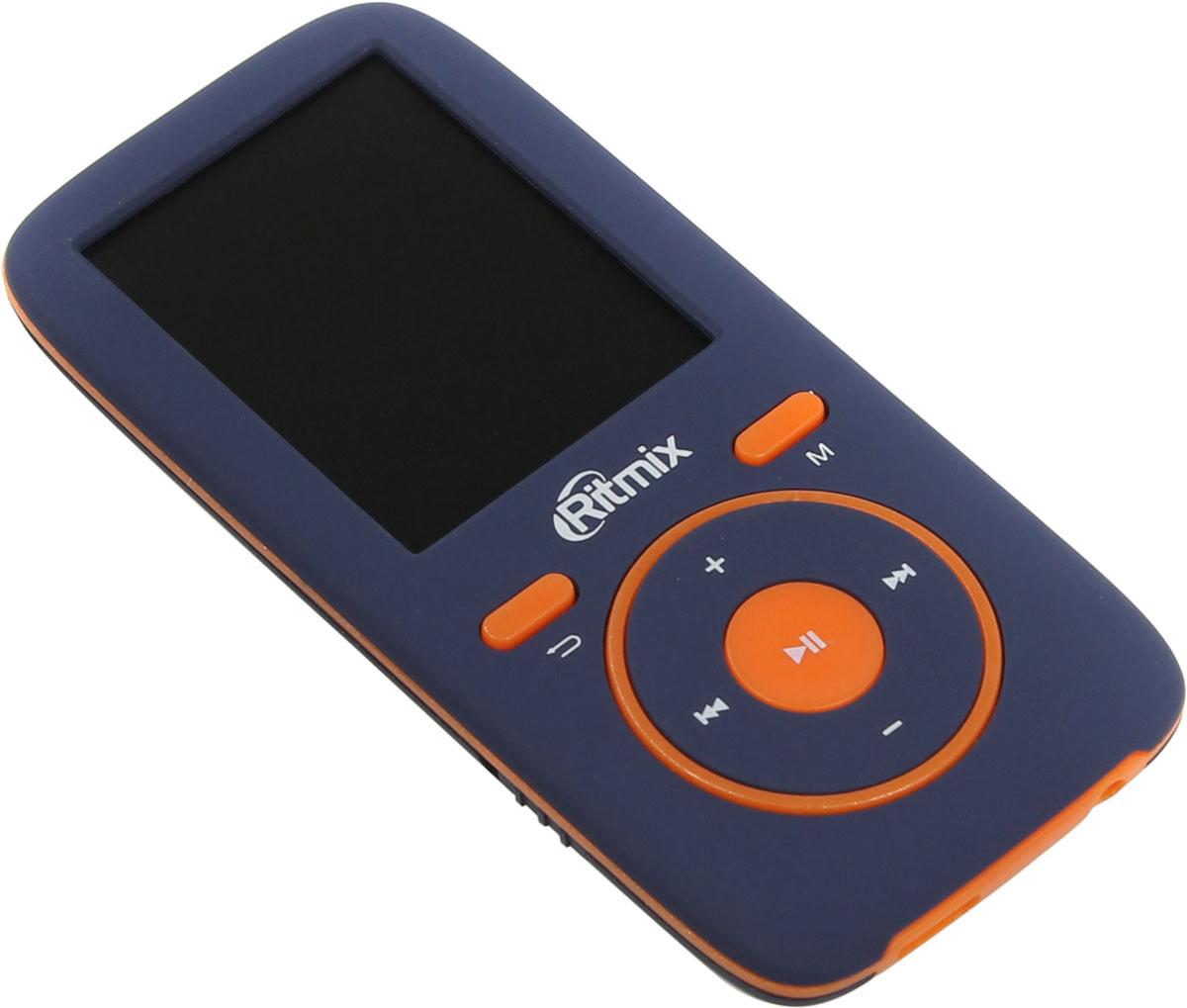 Ritmix RF-4450 4GB, Blue Orange MP3-плеер15118490Ritmix RF-4450 - это доступный эргономичный плеер, поддерживающий все виды мультимедиа: музыку, радио, диктофон, фото и текст. Устройство обеспечивает высококачественное звучание, помимо стандартных форматов оно воспроизводит и такие Lossless-форматы, как FLAC и APE. Также доступно несколько настроек эквалайзера.Плеер выполнен из приятного на ощупь материала Soft Touch и представлен в нескольких цветовых решениях.Эргономичный и легкий мультимедиа плеерПростое и интуитивно понятное управлениеВсе необходимые функции в компактном корпусе: музыка, радио, диктофон, фото, текстВысокое качество звучания, поддержка Lossless-форматов (FLAC, APE)Несколько настроек эквалайзераВстроенная память + разъём для карты памяти MicroSD позволяют сохранить множество любимых песенПриятный на ощупь материал корпуса Soft TouchНесколько интересных цветовых решений на выборАвтоматическое отключение по таймеруСистемные требования: Windows 2000/ME/XP/VISTA/7/8/10, Mac OS X 10.0 и вышеMicroSD до 16 Гб