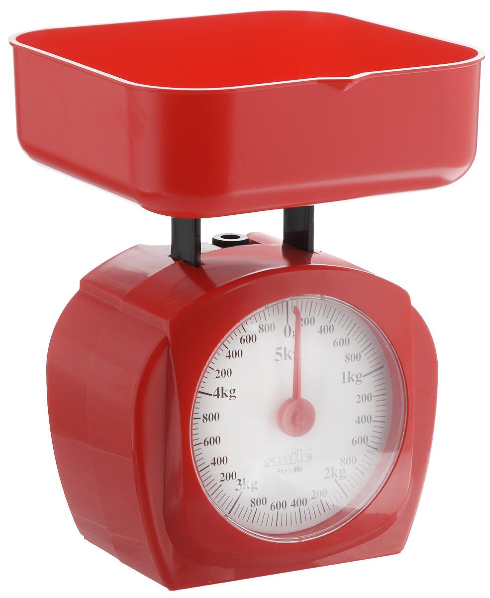 Весы кухонные Smile, цвет: красный, белыйKS 3207Механические кухонные весы Smile выполнены из прочного пластика. Циферблат снабжен отметками граммов и килограммов, а также стрелкой. Весы имеют регулятор нулевой отметки. Особенности весов Smile: - надежный механизм, - цена деления: 40 г, - максимальная нагрузка 5 кг, - удобная чаша на 750 мл. - простой и быстрый способ проверить вес продуктов. Размер весов (с учетом чаши): 15,5 х 15 х 20,5 см. Размер чаши: 15,5 х 15 х 5,5 см.