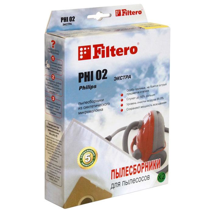 Filtero Phi 02 экстра мешок-пылесборник для Philips, 2 штЭкстра FILTERO PHI 02 (2)Мешки-пылесборники Filtero Phi 02 произведены из синтетического микроволокна MicroFib. Они очень прочные, не боятся острых предметов и влаги, собирают больше (до 50%) пыли, чем бумажные. Мешки обеспечивают уровень очистки воздуха НЕРА и сохраняют мощность всасывания в течение всего периода службы. Антибактериальная пропитка Anti-Bac защищает от аллергенов и угнетает размножение бактерий в мешке. Filtero Phi 02 рекомендуются для семей с детьми, людей, страдающих аллергией и заболеваниями дыхательных путей. Подходит для пылесосов: Philips FC 6841 Triathlon, FC 6842 Triathlon, FC 6843 Triathlon, FC 6844 Triathlon, HR 6814 - HR 6845 Triathlon, Duathlon, Marathon, Triathlon 1300, Triathlon 1400, Triathlon 2000