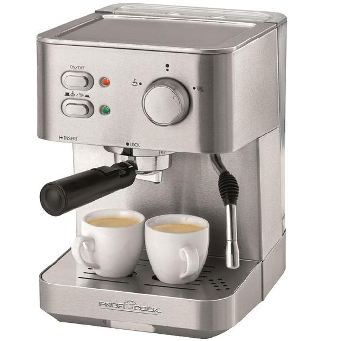 Profi Cook PC-ES 1109, Silver кофемашинаPC-ES 1109Profi Cook PC-ES 1109 - интеллектуальная и удобная в использовании кофемашина, которая готовит великолепный кофе высочайшего качества. Элегантный дизайн корпуса из нержавеющий стали неподвластен времени. Оригинальная итальянская профессиональная помпа гарантирует наслаждение отличным кофе в течение долгих лет. Благодаря автоматическому вспенивателю вы сможете простым нажатием кнопки приготовить превосходную молочную пену, которая станет венцом вашего кофейного творения. Постоянное давление помпы (15 бар)Функция Горячая вода2 контрольные лампыИндикатор готовности к работе