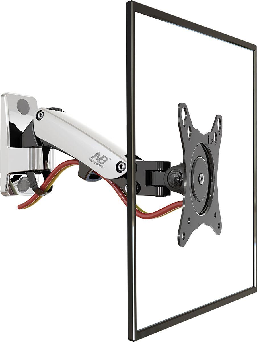 North Bayou NB F120, Chrome кронштейнхромированныйКронштейн North Bayou NB F120 - это металлическая конструкция для крепления LED/LCD телевизоров с возможностью изменения угла наклона от -50 до +35° и поворота на 180°. Амплитуда вертикального перемещения составляет 155 мм. Надежная модель выполнена по классической схеме: задняя рамка монтируется на стену при помощи дюбелей или анкерных болтов. Передняя панель закрепляется на телевизоре, затем устанавливается на настенную рамку. Встроенная в конструкцию газовая пружина позволяет регулировать кронштейн по высоте с фиксацией в нужном положении, без применения дополнительных инструментов.