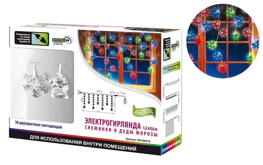 B&H Электрогирлянда Сосульки, 1,2х0,6 м,с насад. Снежинки и Деды Морозы, 36 двухцвет.светод,исп.внут.помBH-SI0419Электрогирлянда Сосульки 1,2х0,6 м, с насадками Снежинки и Деды Морозы, 36 двухцветных светодиодов, для использования внутри помещений.Светодиодные гирлянды SYSTEM IN предназначены для декоративного внутреннего освещения. Все гирлянды серии System IN последовательно подключаются между собой с помощью специальных коннекторов. Цепочка гирлянд может быть удлинена до 2000 светодиодов, что позволит, используя всего одну розетку, украсить целое помещение.Электрогирлянда представляет собой гибкий провод, на котором расположены нити разной длины (45 и 60 см) с декоративными насадками Деды Морозы и Снежинки. Прозрачные насадки с новогодним дизайном ярко подсвечиваются двухцветными светодиодами. Часть светодиодов поочередно меняет свой цвет из красного в синий, а часть – из красного в зеленый цвет. Электрогирлянда имеет низкое энергопотребление, поможет оформить помещения, витрины, новогодние ели и другие объекты внутреннего интерьера, а также создать уютную атмосферу и праздничное настроение...