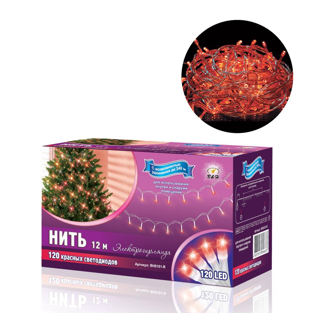 B&H Электрогирлянда Нить 12 м, 120 красных светодиодов, для использования внутри и снаружи помещений.BH0101-RЭлектрогирлянда 120 LED, представляет собой гибкий провод длиной 12 м., на котором расположены крупные яркие светодиоды целлиндрической формы. Гирлянда светодиодная - яркая и долговечная, имеет маленькое энергопотребление (меньше в 10 раз чем у гирлянд с минилампами и микролампами), позволяет создавать яркое и привлекающее внимание оформление витрин, помещений, елей, деревьев и других объектов. Наличие коннекторов-переходников позволяет последовательно соединять до 20-ти гирлянд. Возможно удлинение до 240 м. Цвет: красный. Для использования внутри и снаружи помещений.