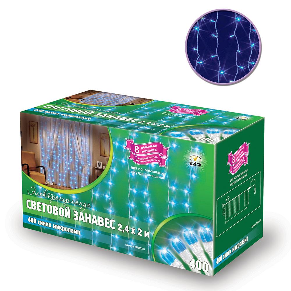 B&H Электрогирлянда Световой занавес, 2,4 x 2 м, 400 синих микролампочек, 8 режимов миг., внутри помещ.BH0312-BЭлектрогирялнда Световой занавес 400 микроламп, размером 2,4 х 2м, соединяемый до 5 шт., с контроллером (8 режимов), 25 нитей, белый провод, цвет свечения: синий, сетевой шнур - 3 м. Для использования внутри помещений.