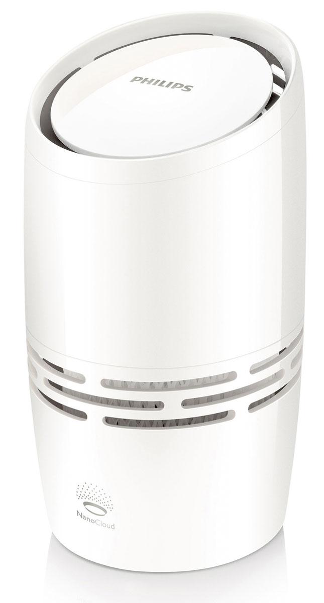 Philips HU4706/11 увлажнитель воздухаHU4706/11Компактный увлажнитель воздуха Philips HU4706/11 эффективно и безопасно борется с сухостью воздуха. Риск распространения вредных микроорганизмов ниже на 99 % по сравнению с ультразвуковыми увлажнителями. Никаких влажных поверхностей и белого налета (взвесей, приводящих к загрязнению воздуха)! Этот увлажнитель воздуха от Philips с технологией NanoCloud оснащен современной системой холодного испарения и действует в три этапа. Этап 1: сухой воздух поступает в увлажнитель, где крупные загрязнения, пыль и шерсть животных оседают на поглощающем фильтре. Этап 2: при помощи технологии холодного испарения NanoCloud происходит насыщение воздуха молекулами воды. Эта технология препятствует распространению в воздухе бактерий и появлению белой пыли. Этап 3: чистый увлажненный воздух подается в помещение и равномерно распределяется по комнате без образования водяного пара, обеспечивая комфорт вам и вашей семье. Прибор равномерно распределяет...