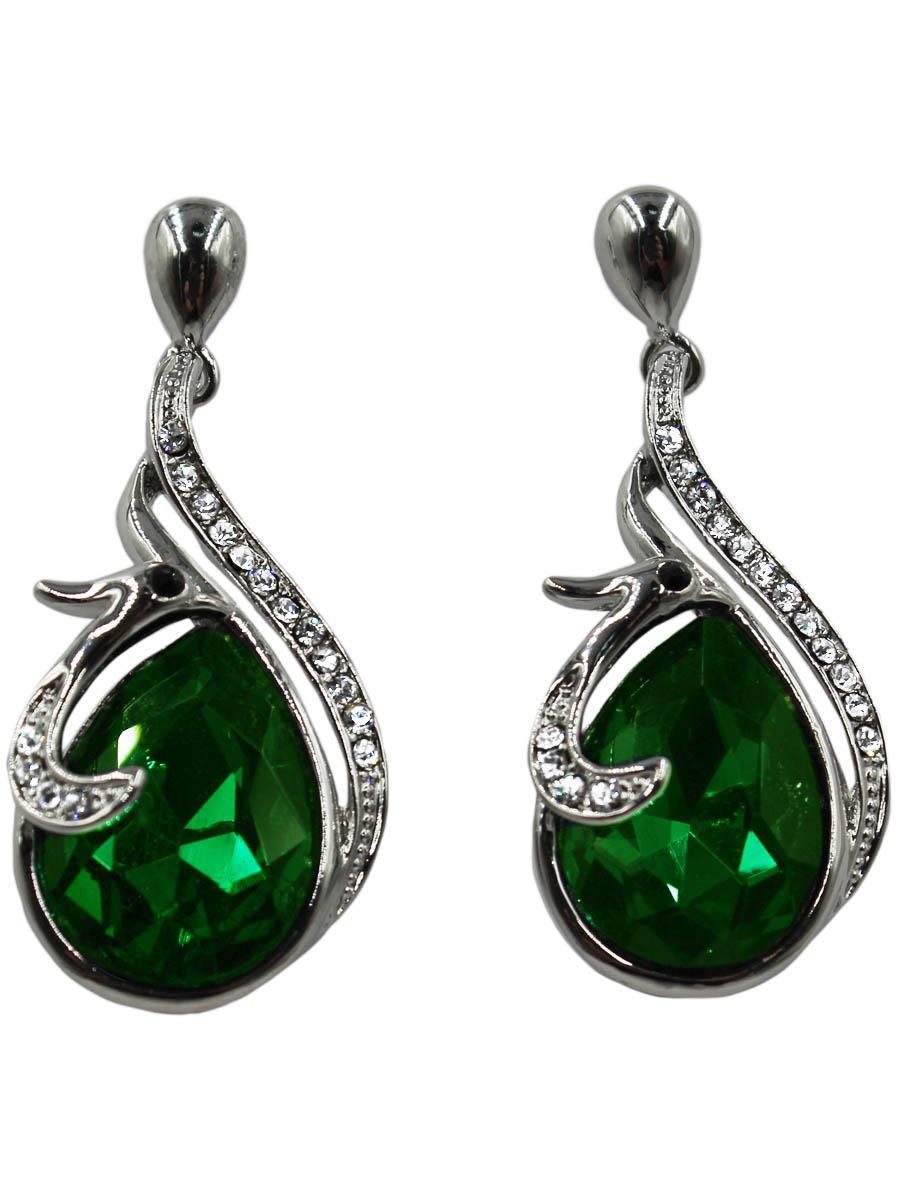 Серьги Taya, цвет: серебристый, зеленый. T-B-10683-EARR-SL.GREENПуссеты (гвоздики)Серьги-гвоздики с заглушкой металл-пластик изготовлены из гипоаллергенного бижутерного сплава. Серьги представляют собой небольшую птичку с глазками-стразами, которая нежно обвивает травяной сверкающий кристалл.