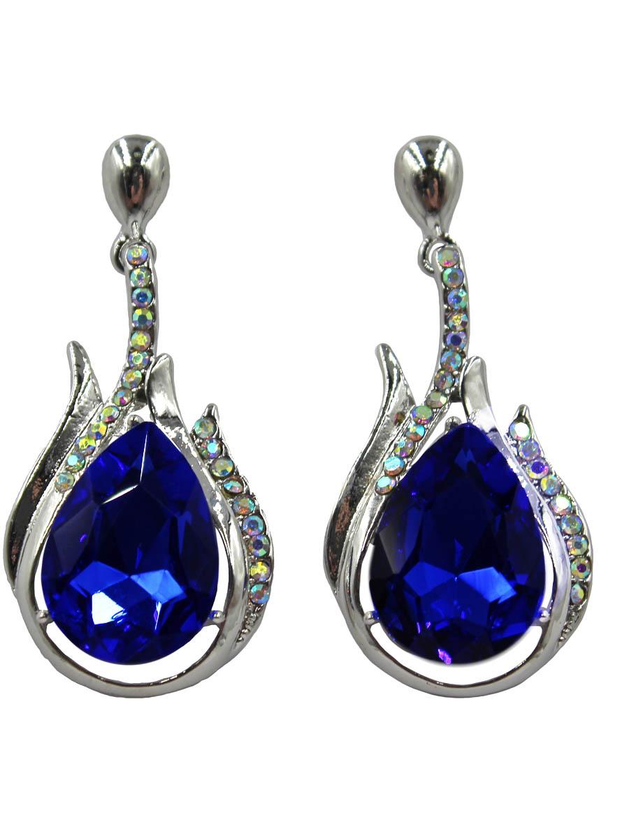 Серьги Taya, цвет: серебристый, темно-синий. T-B-10713-EARR-SL.D.BLUET-B-10713-EARR-SL.D.BLUEСерьги-гвоздики с заглушкой металл-пластик изготовлены из гипоаллергенного бижутерного сплава. Серьги с кристаллом в форме капельки, дополнены россыпью из страз.
