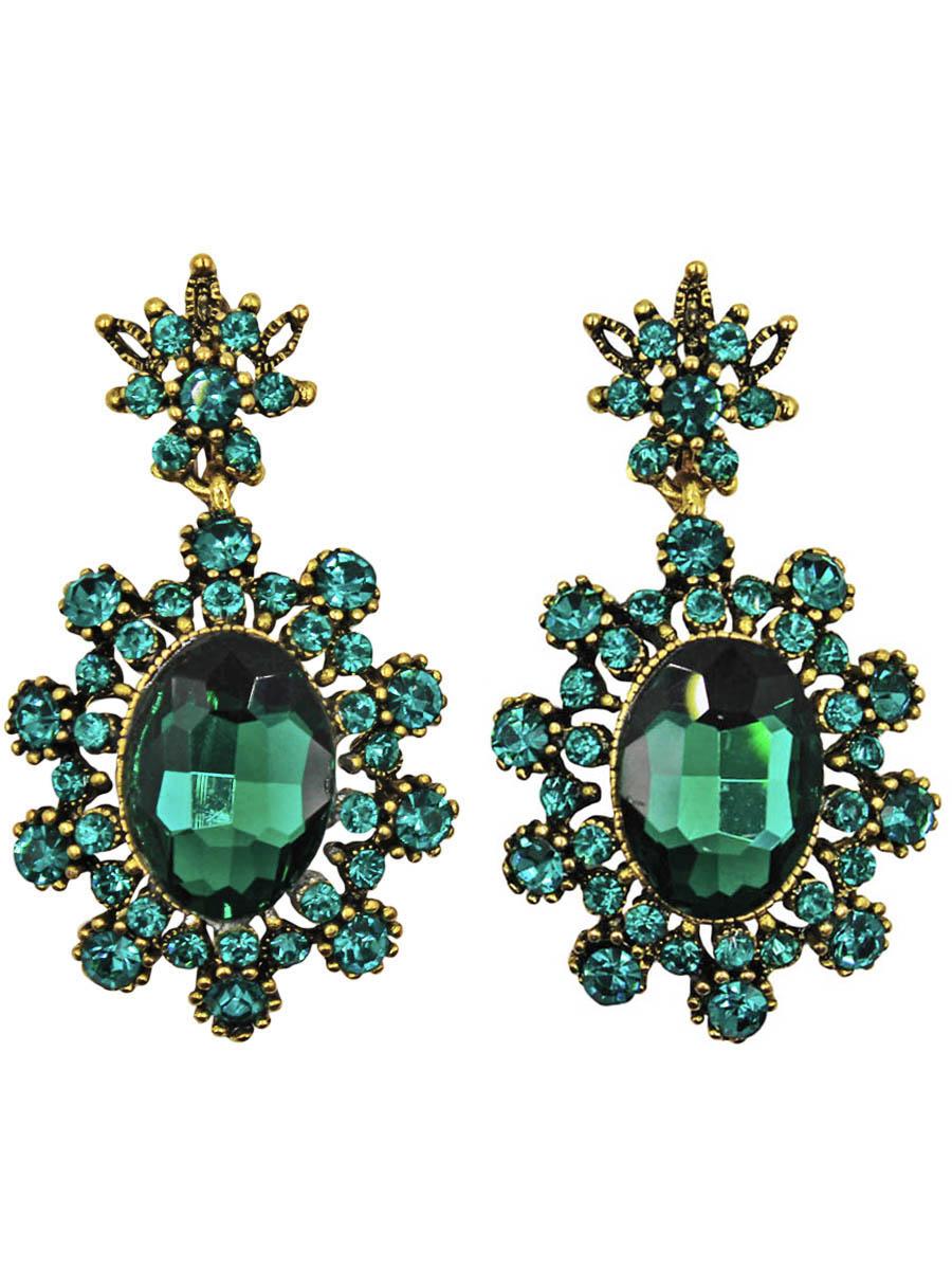 Серьги Taya, цвет: золотистый, зеленый. T-B-10996-EARR-GL.GREENT-B-10996-EARR-GL.GREENСерьги с английским замком изготовлены из гипоаллергенного бижутерного сплава. Серьги- солнышки, нарядные и заметные оформлены сверкающим кристаллом по середине и россыпью из страз.