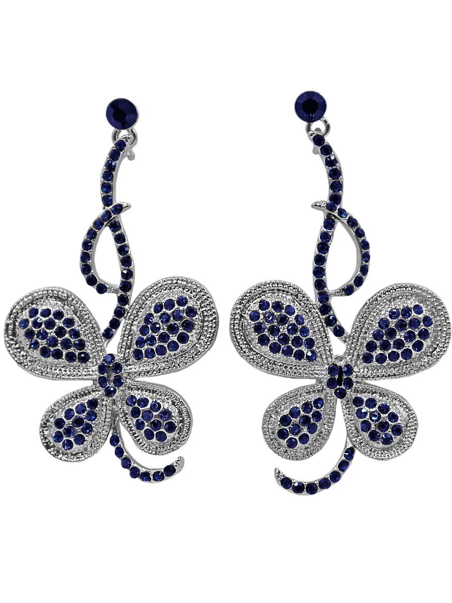 Серьги Taya, цвет: серебристый, синий. T-B-11282-EARR-SL.NAVYT-B-11282-EARR-SL.NAVYСерьги-гвоздики с заглушкой металл-пластик. Сделаны в виде изогнутой веточки, на которой расположилась умилительная бабочка-голубянка с вкраплениями синих страз. Размеры: длина серьги 6,0 см, ширина 3,5 см.