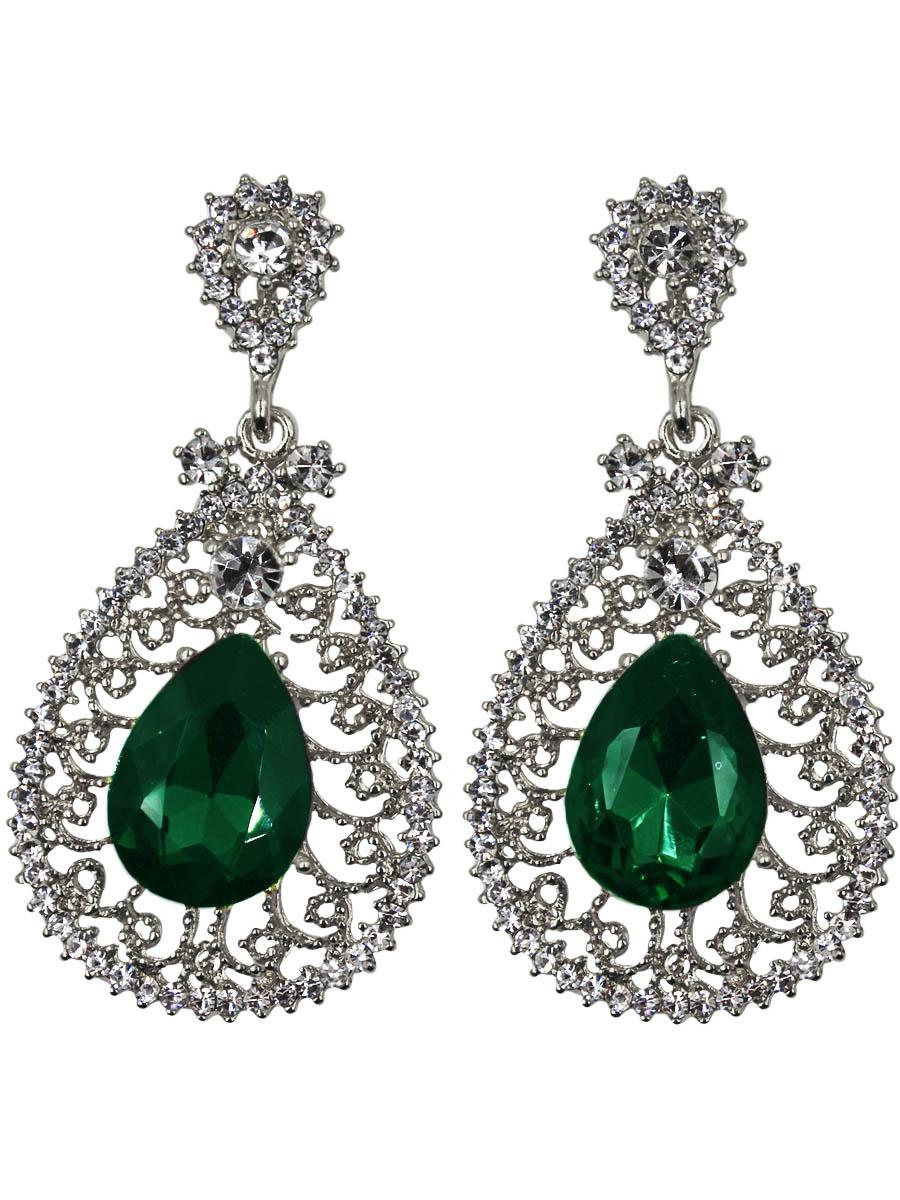 Серьги Taya, цвет: серебристый, зеленый. T-B-11354Серьги с подвескамиСерьги с английским замком изготовлены из гипоаллергенного бижутерного сплава. Сережки объемные дополнены по середине крупным каплевидным кристаллом на серебряной витой платформе.