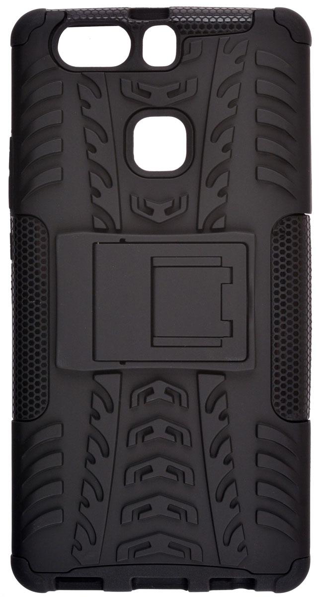 Skinbox Defender case чехол-накладка для Huawei P9 Plus, Black2000000111094Skinbox Defender case надежно защищает ваш смартфон от внешних воздействий, грязи, пыли, брызг. Он также поможет при ударах и падениях, не позволив образоваться на корпусе царапинам и потертостям. Чехол обеспечивает свободный доступ ко всем функциональным кнопкам смартфона и камере.