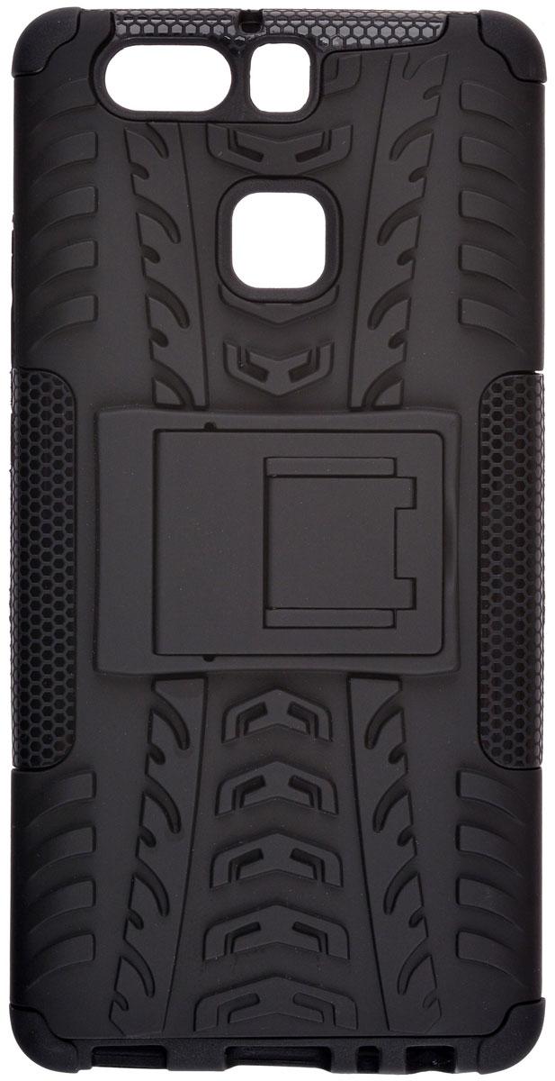 Skinbox Defender case чехол-накладка для Huawei P9, Black2000000111087Skinbox Defender case надежно защищает ваш смартфон от внешних воздействий, грязи, пыли, брызг. Он также поможет при ударах и падениях, не позволив образоваться на корпусе царапинам и потертостям. Чехол обеспечивает свободный доступ ко всем функциональным кнопкам смартфона и камере.