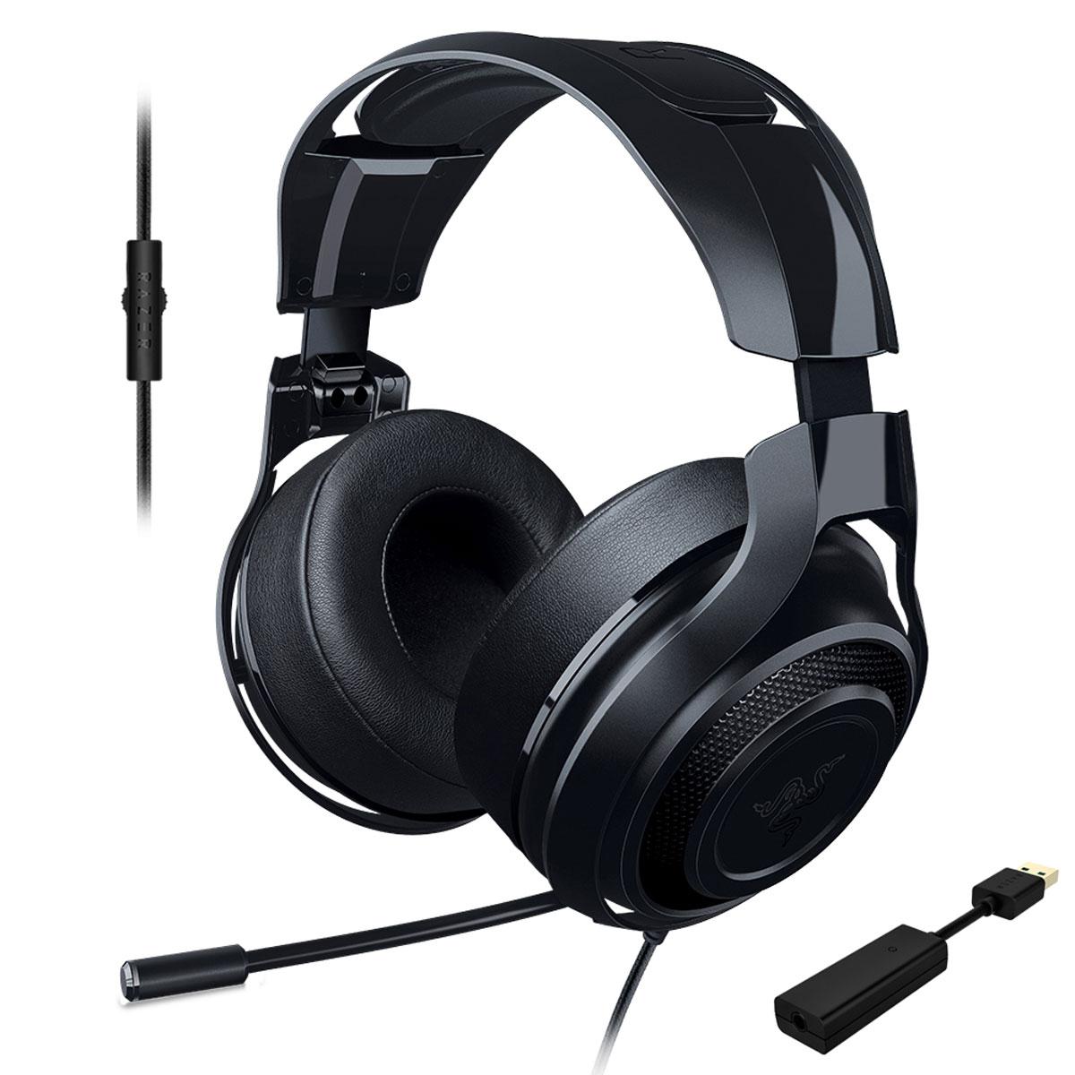 Razer ManO'War 7.1, Black игровые наушникиRZ04-01920200-R3G1Выйти на новый уровень звучания вам позволит игровая гарнитура Razer ManOWar 7.1. Благодаря современной системе виртуального объемного звука формата 7.1 и мягким, большим амбушюрам с хорошей шумоизоляцией вы словно оказываетесь в самом центре событий. Увеличенные динамики превосходного качества обеспечивают бесспорную реалистичность звукового окружения, а выдвижной микрофон позволяет с комфортом руководить победным наступлением. Заручитесь преимуществом абсолютного погружения в игру, которое дает вам Razer ManOWar 7.1, и наслаждайтесь торжеством победы в каждой битве. Гарнитура Razer ManOWar 7.1 оснащена запатентованной системой формирования виртуального объемного звука в формате 7.1. Система с самого начала разрабатывалась, чтобы дать возможность с головой уйти в игру. Специальный USB-адаптер обрабатывает аудио с минимальной задержкой и модулирует источник звука, формируя впечатляющее, реалистичное звуковое окружение. Гарнитура...