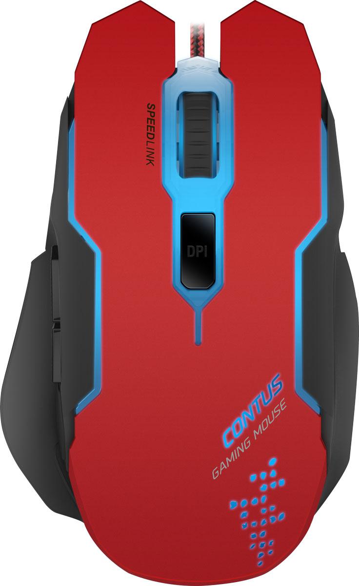 Speedlink Contus, Black Red мышь игроваяSL-680002-BKRDВ удобстве и точности игровой мыши Speedlink Contus можно не сомневаться. Пять кнопок, лазерный сенсор с точностью до 3200 dpi делают ее гибким и надежным прецизионным инструментом. Игровая мышь Speedlink Contus периодически меняет подсветку, что делает любую игру еще более разнообразной и служит индикатором выбранного профиля. 5 программируемых кнопок: Высокочувствительные кнопки мгновенно переносят ваши команды у игру, две дополнительные боковые кнопки можно задействовать как для выделенных игровых команд, так и для голосового чата. Оптический сенсор с разрешением 3200 dpi: Надежный оптический сенсор прекрасно работает без срывов на любых поверхностях, а разрешения 3200 dpi хватит для большинства современных игр и ситуаций. Усиленная конструкция кабеля: Кабель в защитной тканевой оплетке поможет мышке прослужить максимально долго, даже при использовании мыши в самых жарких сражениях. Кабель длиной 1.8 м: ...