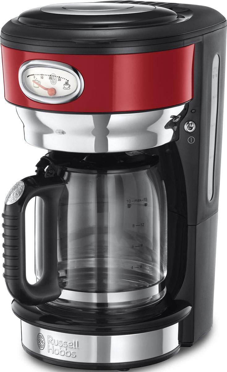 Russell Hobbs Retro, Ribbon Red кофеварка21700-56Потрясающий дизайн кофеваркиRetro Ribbon Red станет особо любимым предметом на кухне ценителей кофе. Несмотря на винтажную внешность, эта модель оснащена всеми современными технологиями для качественного приготовления настоящего кофе с превосходным вкусом. В кофеварке используется усовершенствованная система заваривания кофе для улучшенной экстракции кофеина и аромата. Вода впрыскивается в резервуар с молотым кофе через несколько отверстий, в виде душа, полностью пропитывая весь объем кофе, что обеспечивает эффективное заваривание и как результат кофе получается с насыщенным вкусом и ароматом. Функция подогрева готового кофе позволитвам насладиться второй или даже третьей чашечкой любимого горячего напитка. Чтобы кофе был сбалансирован по вкусу, необходимо соблюдать правильную пропорцию, для этого в комплекте есть мерная ложечка на идеальную порцию кофе. Насыпайте в фильтр столько ложек кофе, сколько порций вы хотите приготовить. Кофеварка коллекции Retro оснащена стильной шкалой процесса заваривания кофе и времени сохранения наилучшего вкуса готового кофе. Это не только стильная фишка в кофеварке, но и любопытное напоминание о том, что кофе лучше выпить в течение определенного времени, ведь со временем вкус и аромат готового напитка теряется. Функция Пауза позволит вам не ждать пока приготовится весь объем кофе и насладиться первой чашечкой свежесваренного кофе в любой момент.