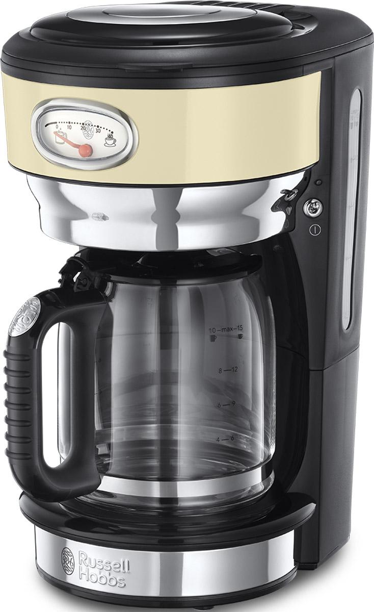 Russell Hobbs Retro, Vintage Cream кофеварка21702-56Потрясающий дизайн кофеварки Retro Vintage Cream станет особо любимым предметом на кухне ценителей кофе. Несмотря на винтажную внешность, эта модель оснащена всеми современными технологиями для качественного приготовления настоящего кофе с превосходным вкусом. В кофеварке используется усовершенствованная система заваривания кофе для улучшенной экстракции кофеина и аромата. Вода впрыскивается в резервуар с молотым кофе через несколько отверстий, в виде душа, полностью пропитывая весь объем кофе, что обеспечивает эффективное заваривание и как результат кофе получается с насыщенным вкусом и ароматом. Функция подогрева готового кофе позволит вам насладиться второй или даже третьей чашечкой любимого горячего напитка. Чтобы кофе был сбалансирован по вкусу, необходимо соблюдать правильную пропорцию, для этого в комплекте есть мерная ложечка на идеальную порцию кофе. Насыпайте в фильтр столько ложек кофе, сколько порций вы хотите приготовить. Кофеварка...