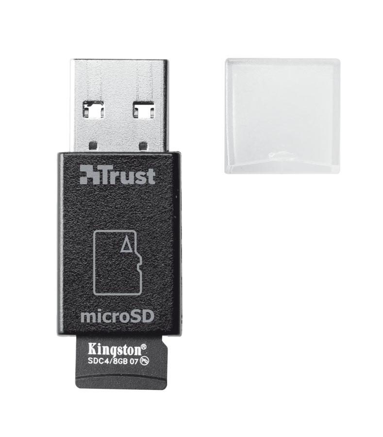 Trust High Speed Micro-SD Card Reader USB 3.0, Black картридер19978Миниатюрное и высокоскоростное устройство для считывания карт microSD Trust High Speed с интерфейсом USB 3.0. С помощью этого устройства вы сможете легко копировать фотографии и другие файлы с вашей карты microSD на планшете или смартфоне. Скорость передачи файлов до 10 раз быстрее, чем с помощью кабеля. Миниатюрное устройство удобно брать с собой. Также работает с картами microSD, microSDHC и microSDXC.