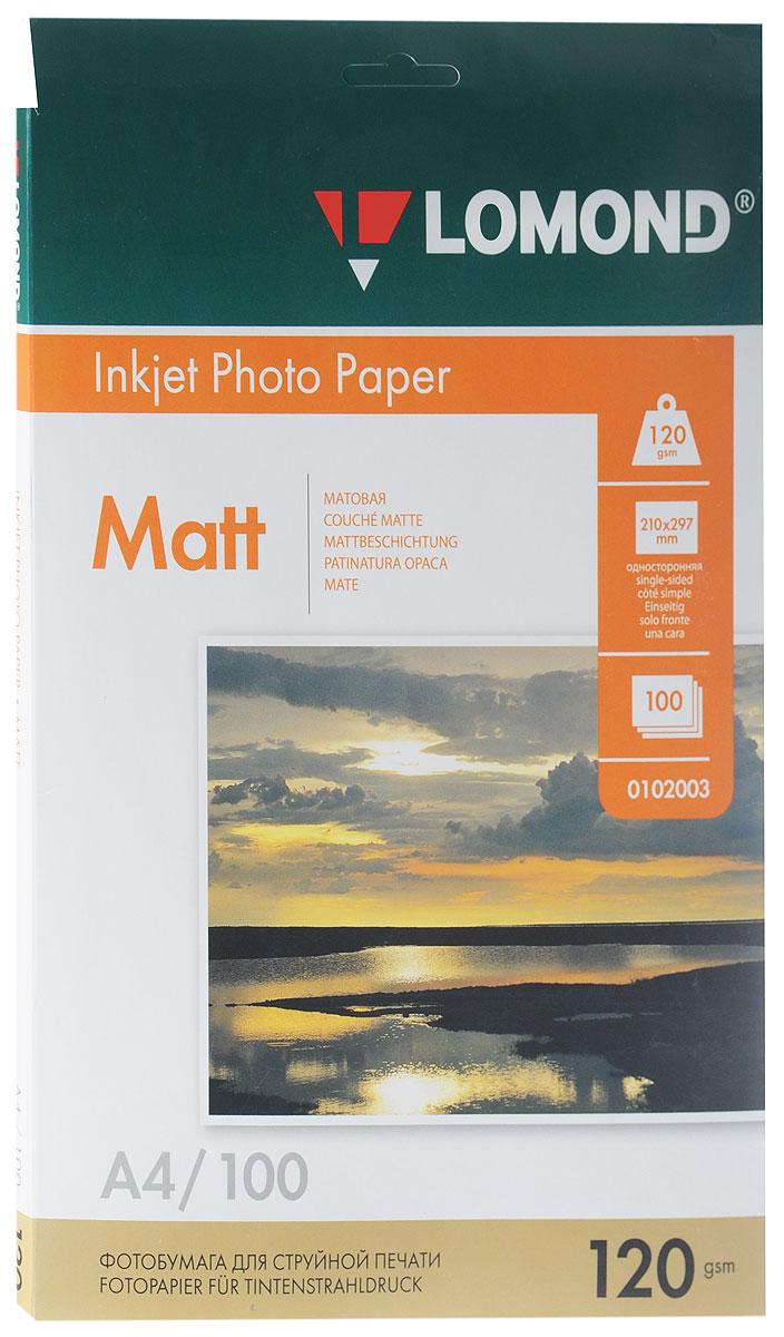 Lomond 120/A4/100л, бумага матовая односторонняя, 01020030102003Фотобумага Lomond предназначена для печати на струйных принтерах с фотографическим качеством и высоким разрешением. Позволяет получать изображение с широким цветовым охватом, тонкой цветопередачей, яркими насыщенными цветами и детальной проработкой мелких фрагментов.