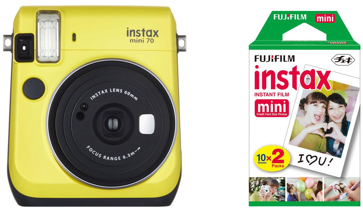 Fujifilm Instax Mini 70, Yellow фотокамера мгновенной печати + Colorfilm Instax Mini (10/2PK) картридж16496110С камерой Fujifilm Instax Mini 70 вы превратите серые будни в особенные дни, наполненные улыбками. Чтобы проводить время весело, всегда и везде берите с собой этот стильный фотоаппарат. Главной особенностью камеры является функция автоматического контроля экспозиции, которая позволяет запечатлеть, как объект съемки, так и фон в их естественной освещенности. Помимо этого Instax Mini 70 может похвастаться отдельным режимом съемки для создания cелфи. Использование режима selfie обеспечивает оптимальную яркость и расстояние для съемки автопортретов. Вы также можете проверить кадрирование в специальном зеркальце рядом с объективом. Высокопроизводительная вспышка автоматически определяет яркость окружающего освещения и устанавливает оптимальную выдержку - специальные настройки не требуются! С помощью функции Hi-Key можно запечатлеть яркие, красивые тона кожи. Также имеются режимы для съемки макро и пейзажей. Для максимального...