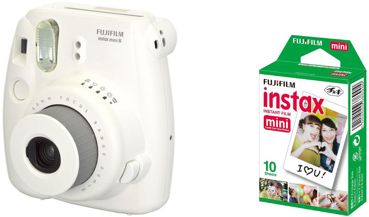 Fujifilm Instax Mini 8, White фотокамера мгновенной печати + Colorfilm Instax Mini Glossy (10/PK) картридж 16443852