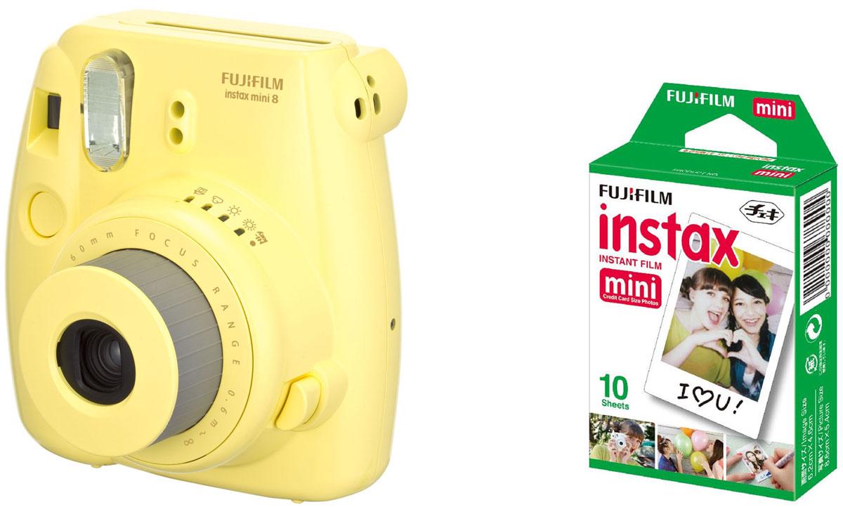 Fujifilm Instax Mini 8, Yellow фотокамера мгновенной печати + Colorfilm Instax Mini Glossy (10/PK) картридж16427743Камера с технологией моментальной печати Fujifilm INSTAX Mini 8 позволяет печатать фотографии размера визитной карточки сразу после съемки. Обладая теми же конструктивными и эксплуатационными характеристиками, что и INSTAX mini 7S, INSTAX mini 8 примерно на 10% меньше mini 7S по объему корпуса. Процесс кадрирования стал проще благодаря видоискателю, который передает четкую картинку в реальном времени (даже при съемке под углом) и отличается более наглядной центральной меткой. К функциям съемки добавлен режим High-key - повышение диафрагмы на 2/3 ступени. Чтобы сделать фотографию с яркими и мягкими цветами, которые так полюбились девушкам, достаточно прокрутить диск в режим High-key. С момента своего выхода в свет в 1998 году камера INSTAX mini стала очень популярной благодаря простому управлению, остроумному дизайну и удивительному качеству снимков. Судя по тому, насколько распространен в наше время обмен цифровыми фотографиями, способов...