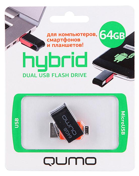 QUMO Hybrid 64GB USB-накопитель6909723207571QUMO Hybrid - ультра-современный флеш-накопитель с двумя коннекторами: для подключения к компьютеру и ноутбуку используется интерфейс USB 2.0; для подключения к планшетам и смартфонам, поддерживающим функцию «On-the-Go» (USB OTG), используется разъём microUSB. Благодаря поворотно-выдвижному механизму QUMO Hybrid компактен и невероятно удобен в использовании. QUMO Hybrid сделает Вашу жизнь более динамичной и современной: моментальный доступ к фильмам, фото или музыке без записи на память телефона\планшета; возможность оперативно просмотреть или показать рабочие презентации и документы, записанные на накопителе в любом месте, в любое время; простота переноса фотографий\видео с телефона на компьютер без проводов и подключения к сети.