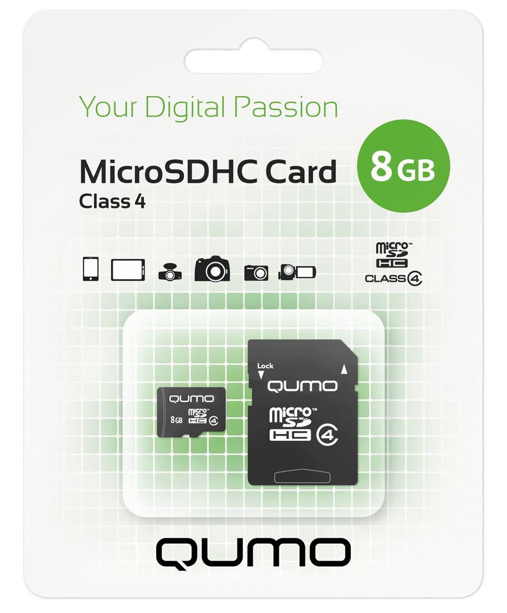QUMO microSDHC Class 4 8GB карта памяти + адаптер6909723171544Карта памяти QUMO microSDHC Class 4 позволяет осуществлять расширение памяти цифровых плееров, цифровых фотоаппаратов и видеокамер, коммуникаторов, смартфонов, интернет планшетов и других совместимых устройств. Карты памяти Qumo являются качественным решением для хранения и переноса различного рода информации, такой как, музыкальный файлы, фотографии, электронные документы и другие важные для вас файлы. Внимание: перед оформлением заказа, убедитесь в поддержке вашим электронным устройством карт памяти данного объема.